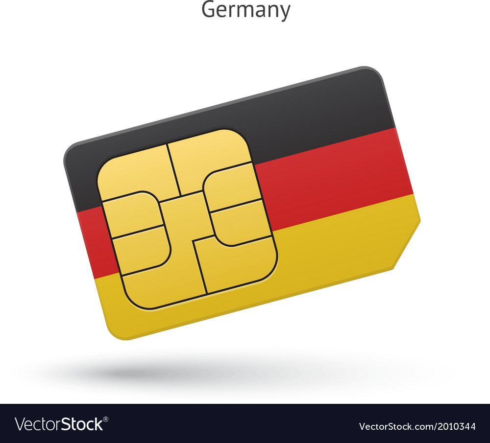 Germany mobile phone sim card with flag vector | Price: 1 Credit (USD $1)
