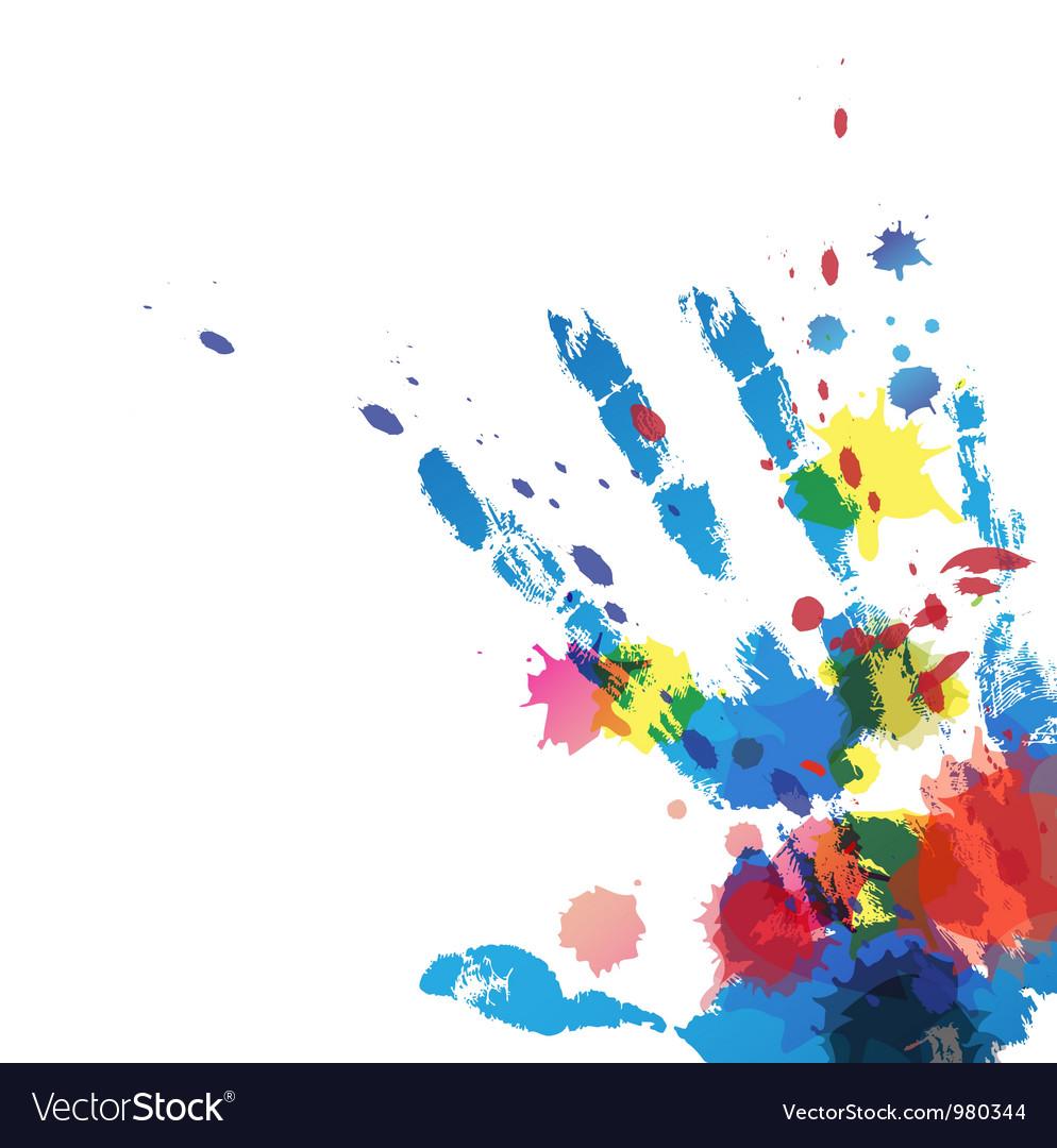 Hand print with ink splatter vector | Price: 1 Credit (USD $1)