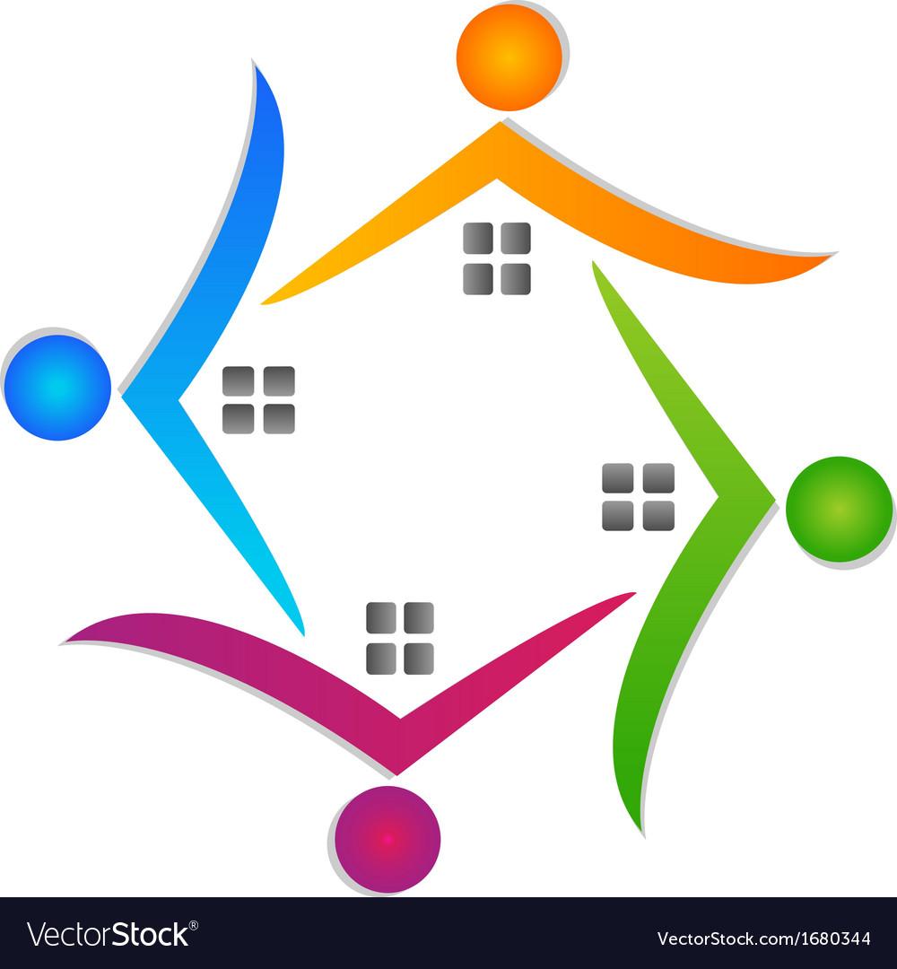 Houses teamwork logo real estate vector | Price: 1 Credit (USD $1)