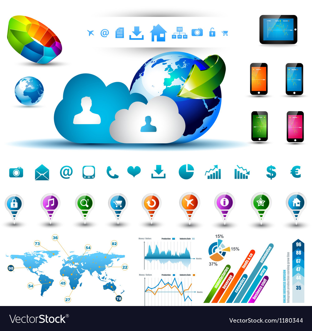 Infographic elements for cloud computing vector | Price: 3 Credit (USD $3)
