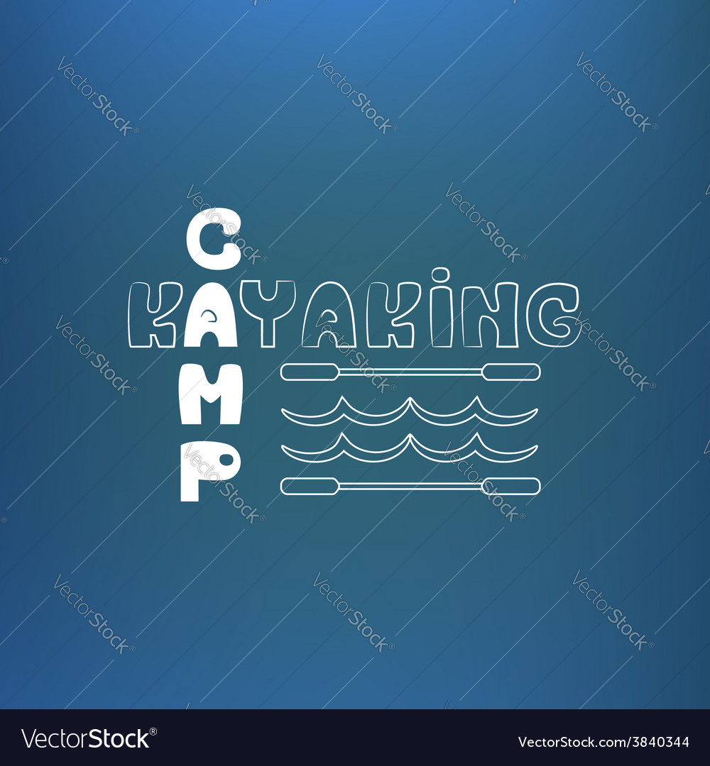 Kayaking camp poster banner on blue like vector | Price: 1 Credit (USD $1)