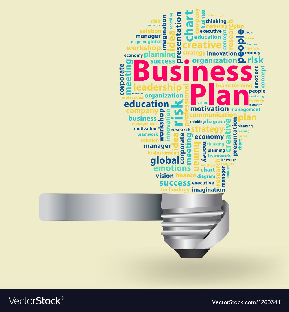 Light bulb with business plan word cloud vector | Price: 1 Credit (USD $1)
