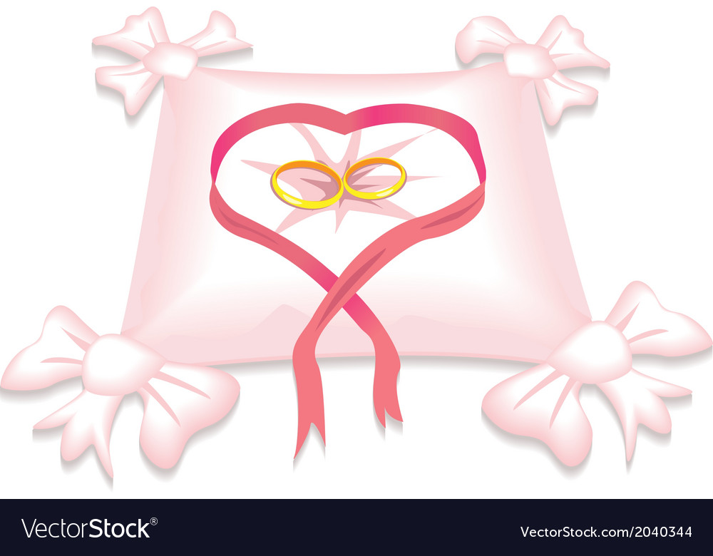 Pillow with wedding rings and red heart ribbon vector | Price: 1 Credit (USD $1)