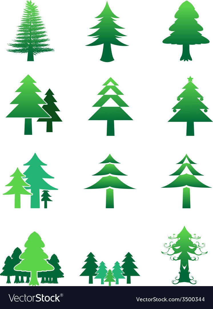 Pinetree color icon collection preview vector | Price: 1 Credit (USD $1)