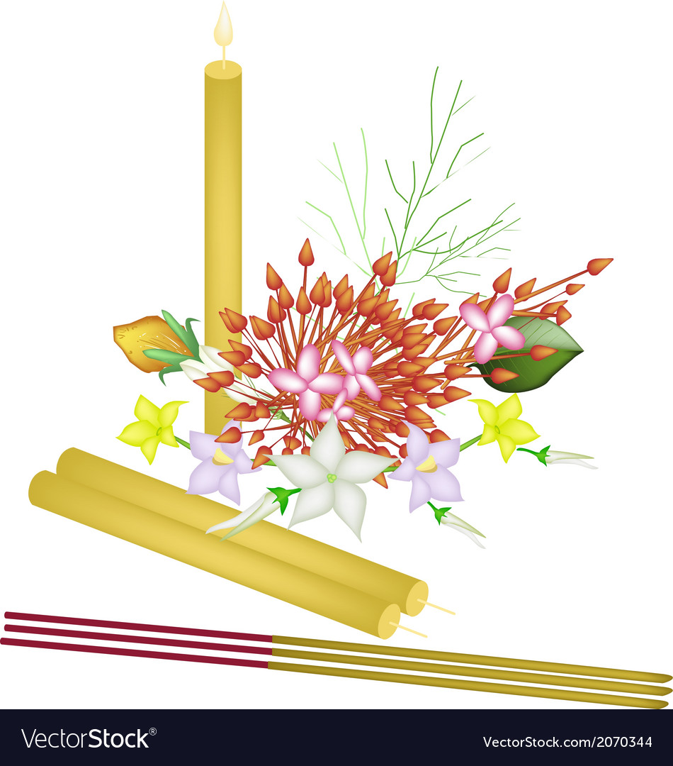 Red ixora flowers with joss sticks and candle vector   Price: 1 Credit (USD $1)