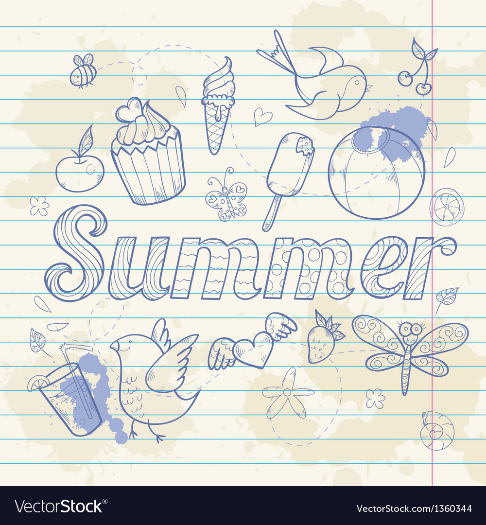 Summer note paper doodle greeting card vector | Price: 3 Credit (USD $3)