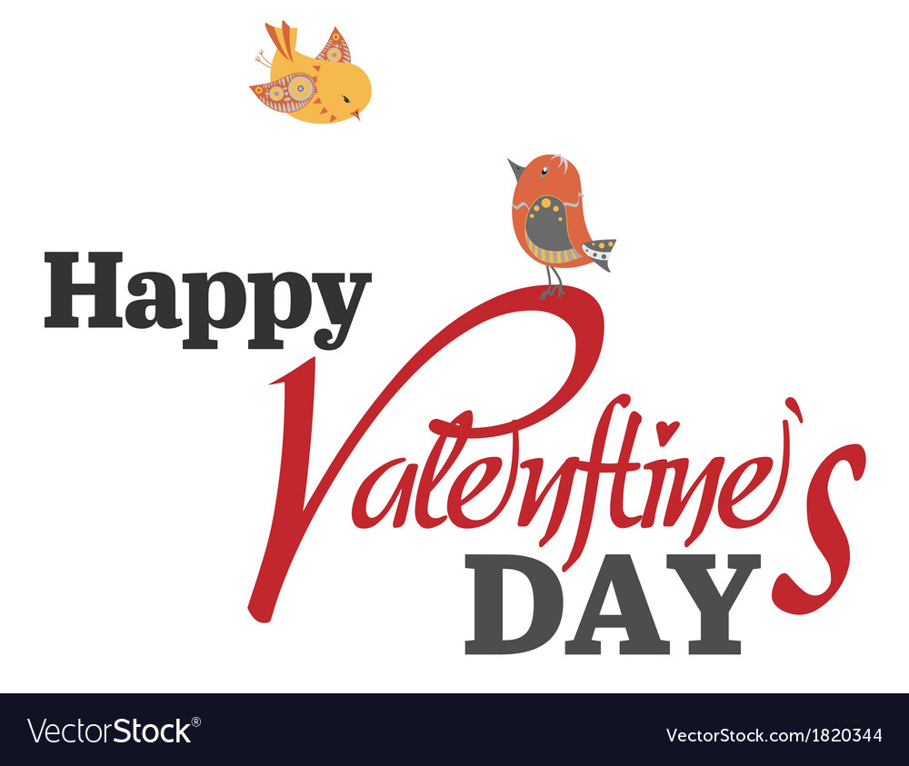 Valentines day type text with two birds vector | Price: 1 Credit (USD $1)