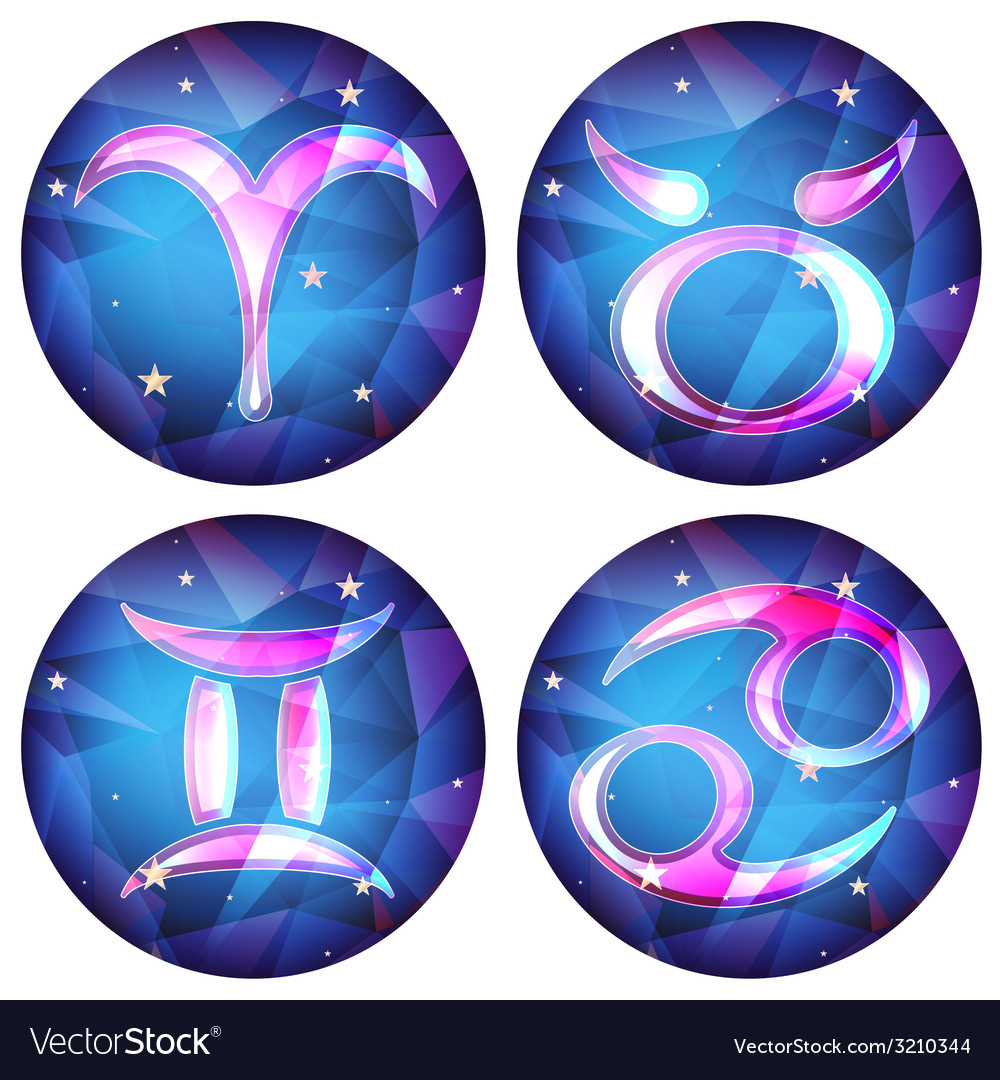 Zodiac signs in the form of a crystal set vector | Price: 1 Credit (USD $1)