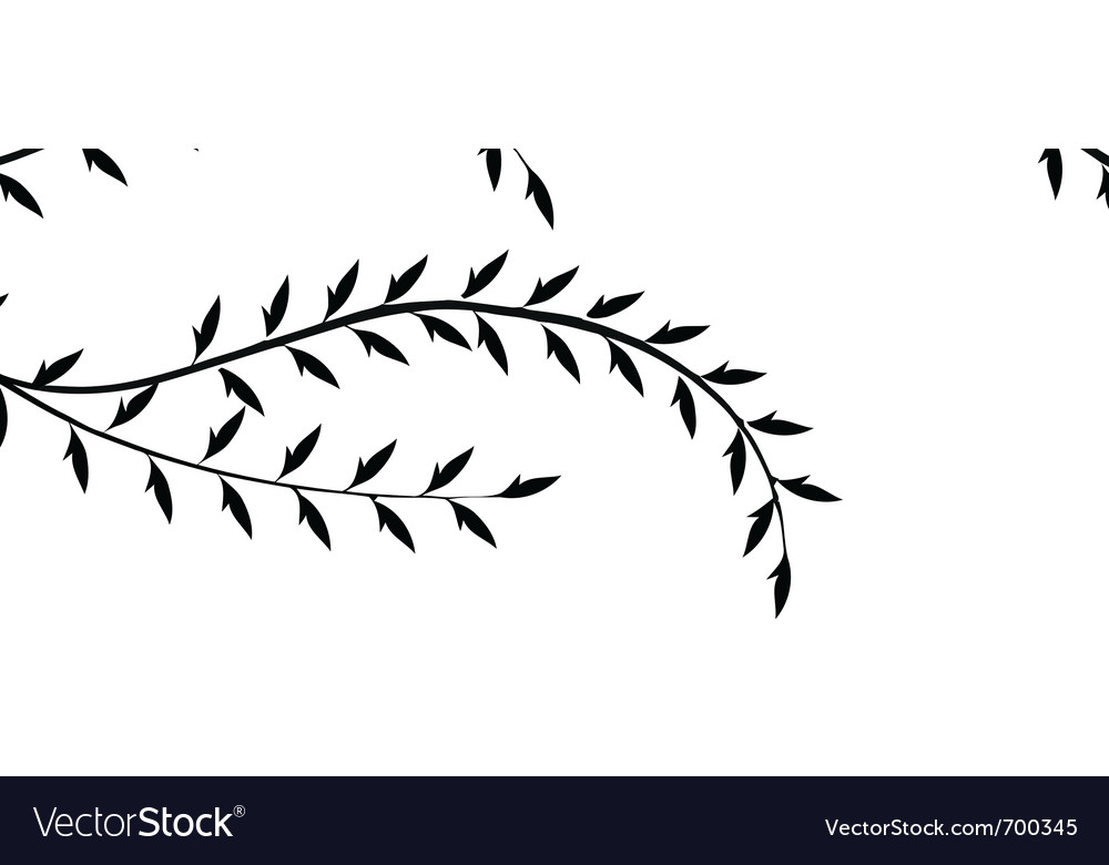 Branch of willow and birds isolated on white backg vector | Price: 1 Credit (USD $1)