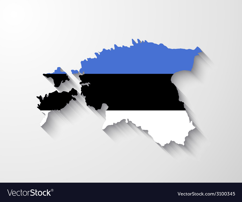 Estonia map with shadow effect vector | Price: 1 Credit (USD $1)