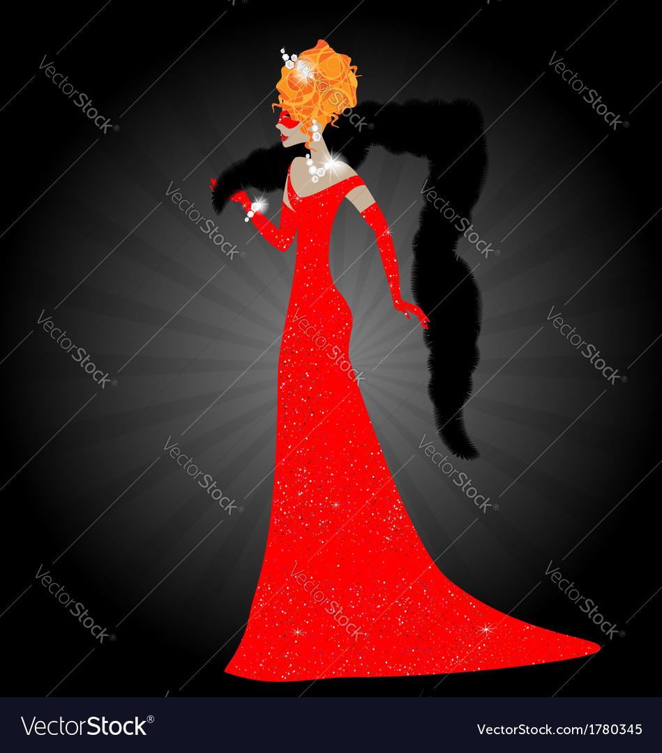 Lady in red dress vector | Price: 1 Credit (USD $1)