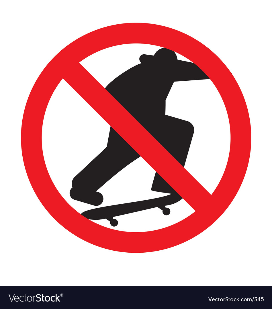 No skateboarding sign vector | Price: 1 Credit (USD $1)