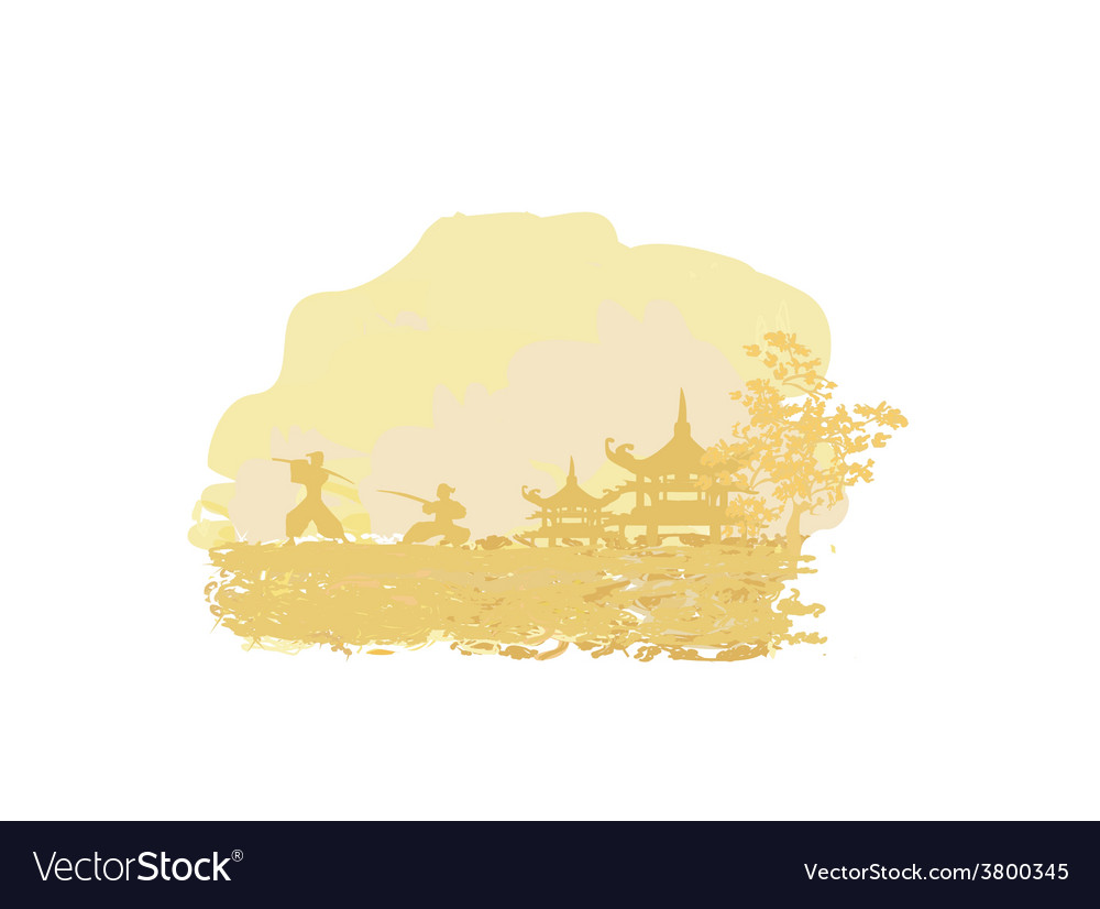 Old paper with samurai silhouette on asian vector | Price: 1 Credit (USD $1)