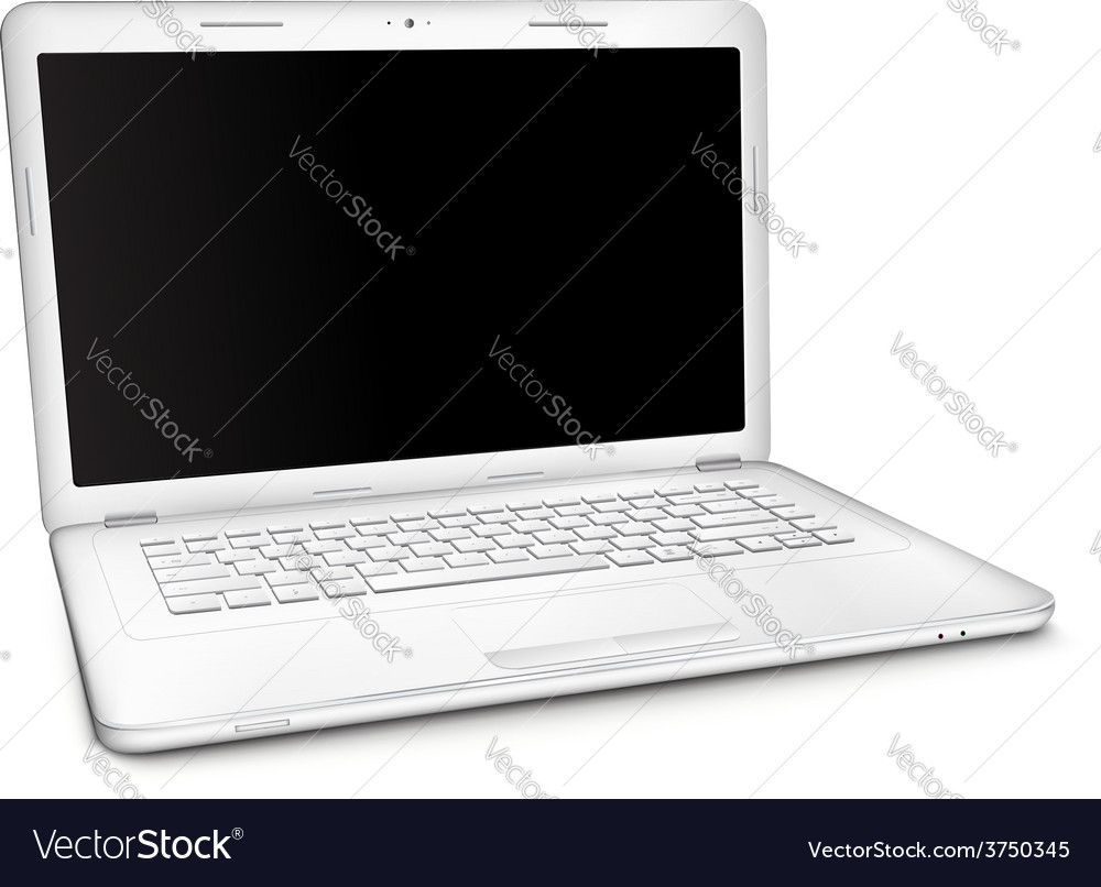 Silver laptop with black blank screen vector | Price: 1 Credit (USD $1)