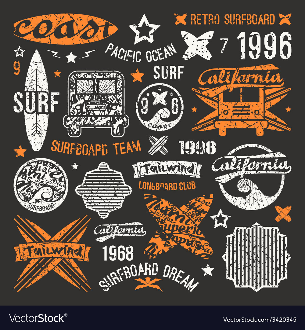 Surfing emblem and design elements vector | Price: 1 Credit (USD $1)