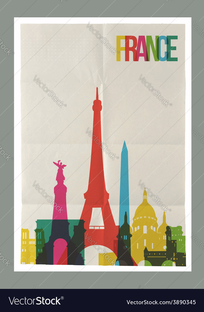 Travel france landmarks skyline vintage poster vector | Price: 1 Credit (USD $1)