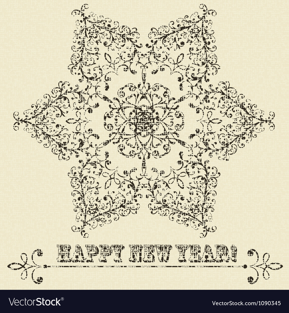 Vintage highly detailed star hexagon snowflake vector | Price: 1 Credit (USD $1)