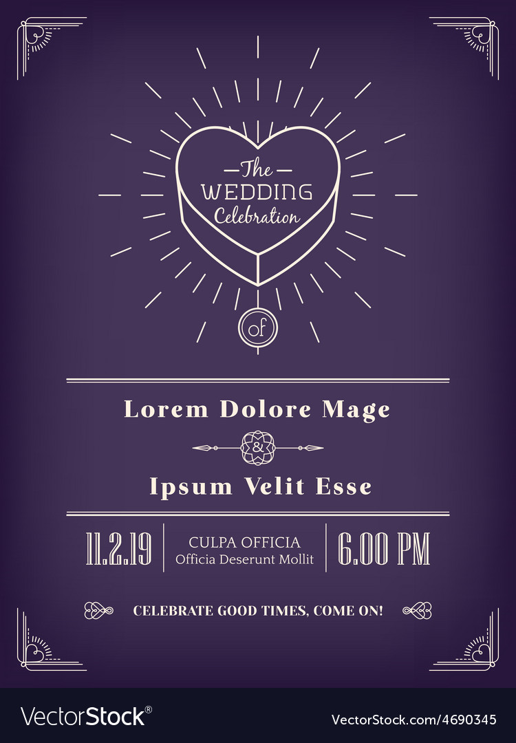 Vintage wedding invitation design vector | Price: 1 Credit (USD $1)