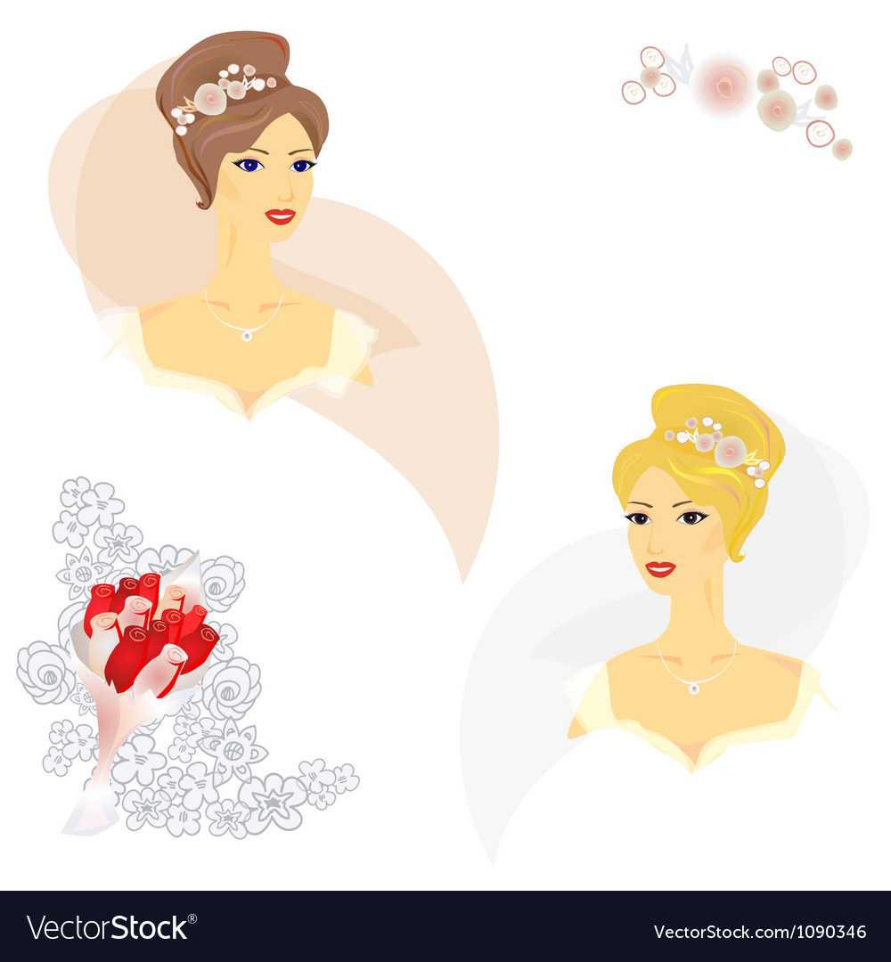2 beautiful women in wedding dress vector | Price: 1 Credit (USD $1)