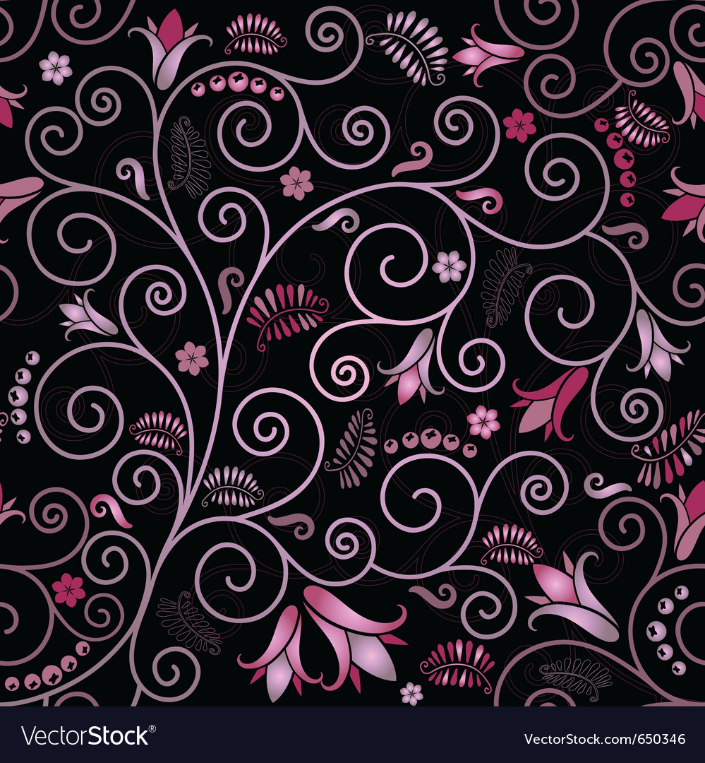 Black seamless floral pattern vector | Price: 1 Credit (USD $1)
