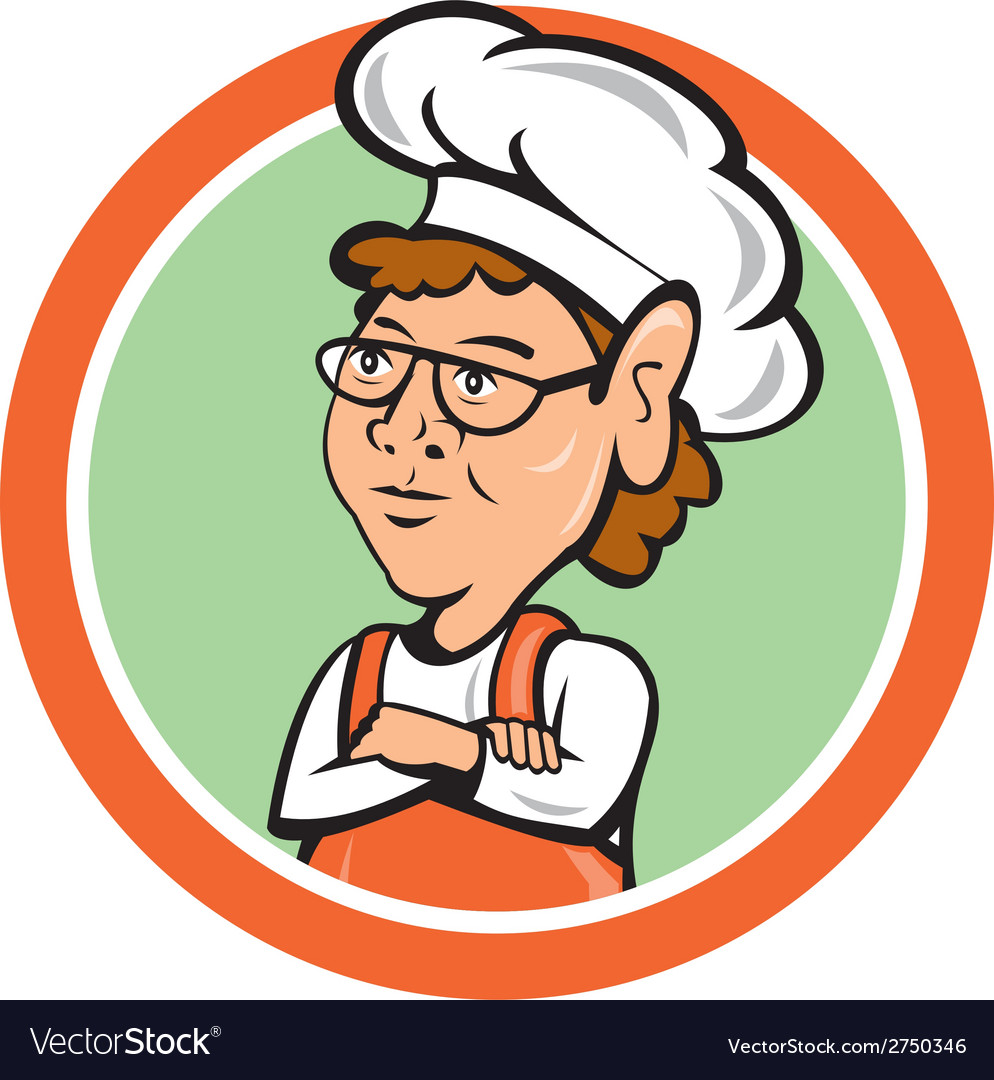 Chef cook female arms folded circle cartoon vector | Price: 1 Credit (USD $1)