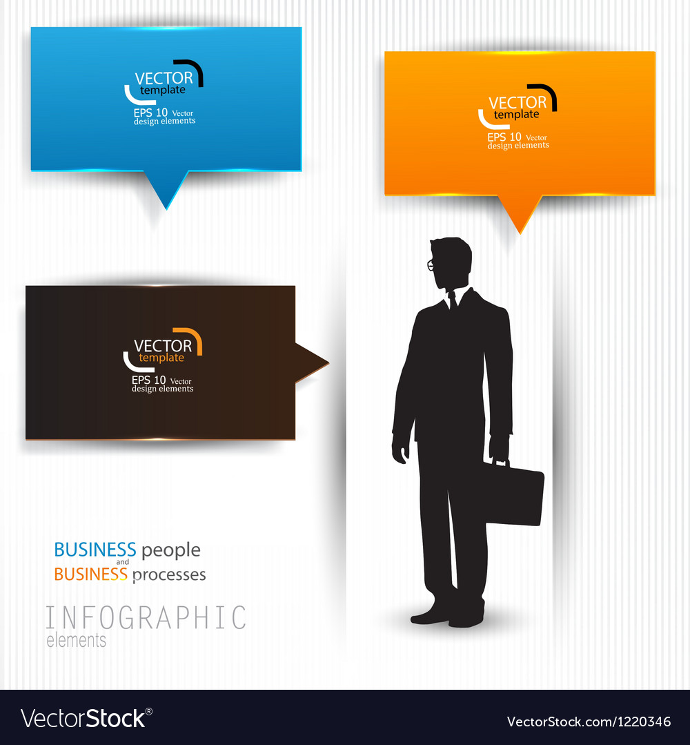 Colorful speech bubbles template with business man vector | Price: 1 Credit (USD $1)
