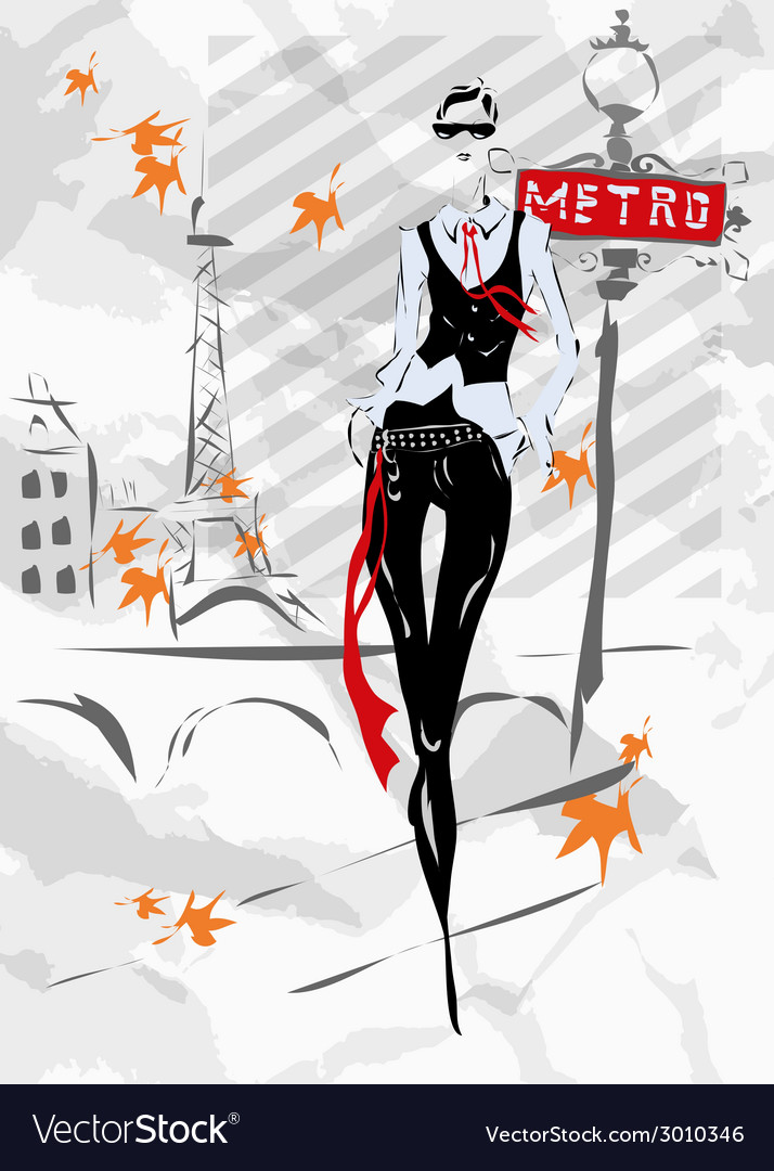 The fashionable girl in paris vector | Price: 1 Credit (USD $1)