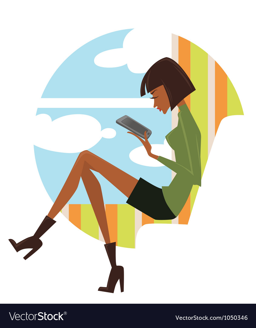 Fashionable reading young woman looking in pad vector | Price: 1 Credit (USD $1)