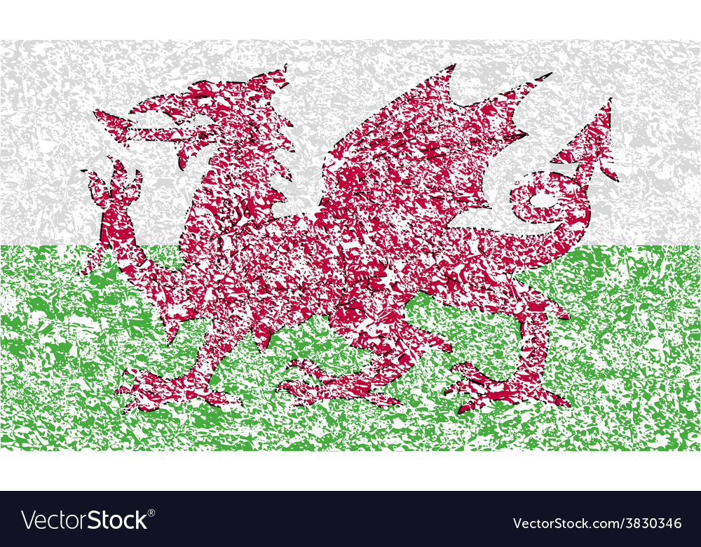 Flag of wales with old texture vector   Price: 1 Credit (USD $1)
