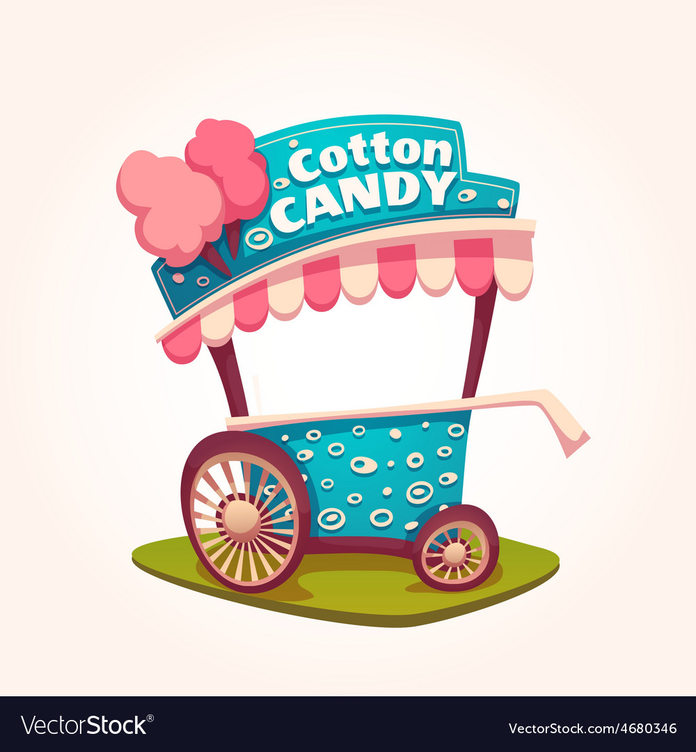 Flat of cotton candy cart vector | Price: 5 Credit (USD $5)