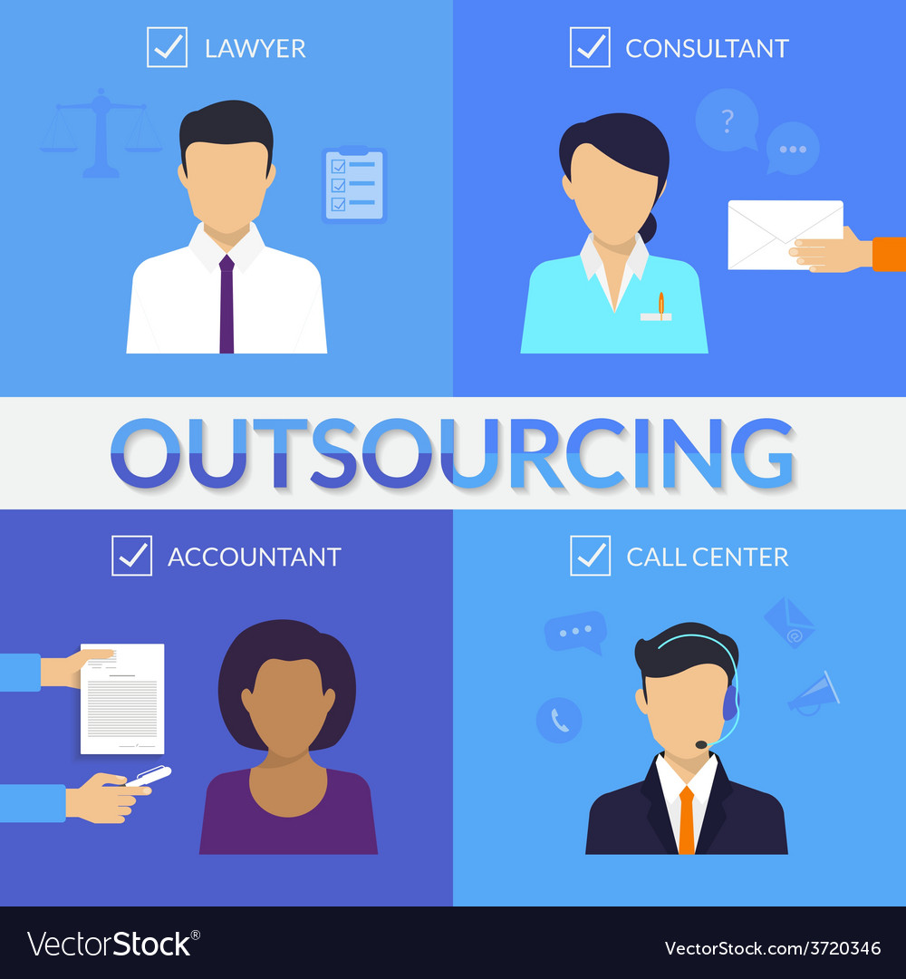 Four types of outsoursing vector | Price: 1 Credit (USD $1)