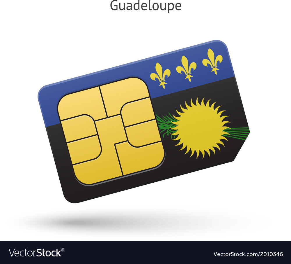 Guadeloupe mobile phone sim card with flag vector | Price: 1 Credit (USD $1)