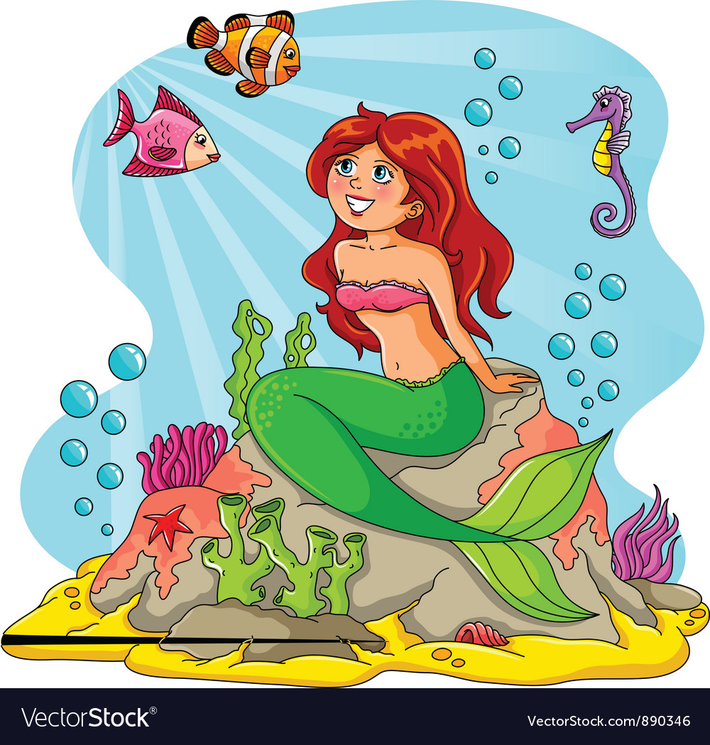 Mermaid and her friends vector