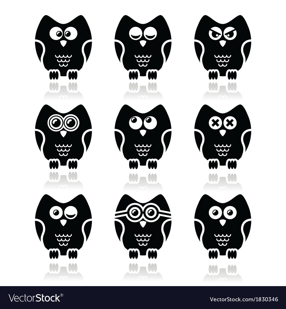 Owl cartoon character icons set vector | Price: 1 Credit (USD $1)