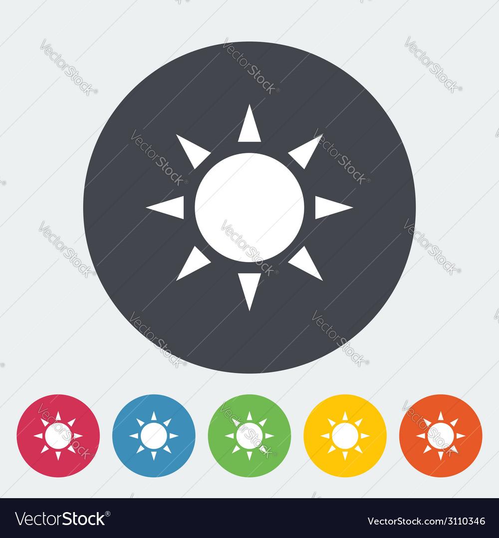 Sun single flat icon vector | Price: 1 Credit (USD $1)