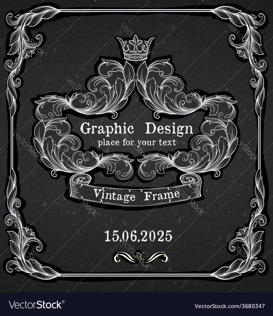 Black chalk board template vintage frame vector | Price: 1 Credit (USD $1)
