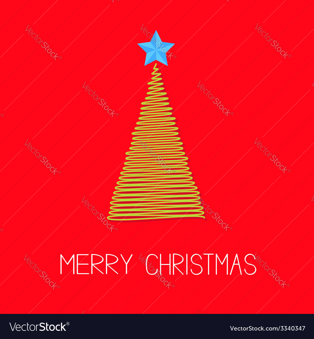 Fir christmas tree with star scribble christmas vector | Price: 1 Credit (USD $1)