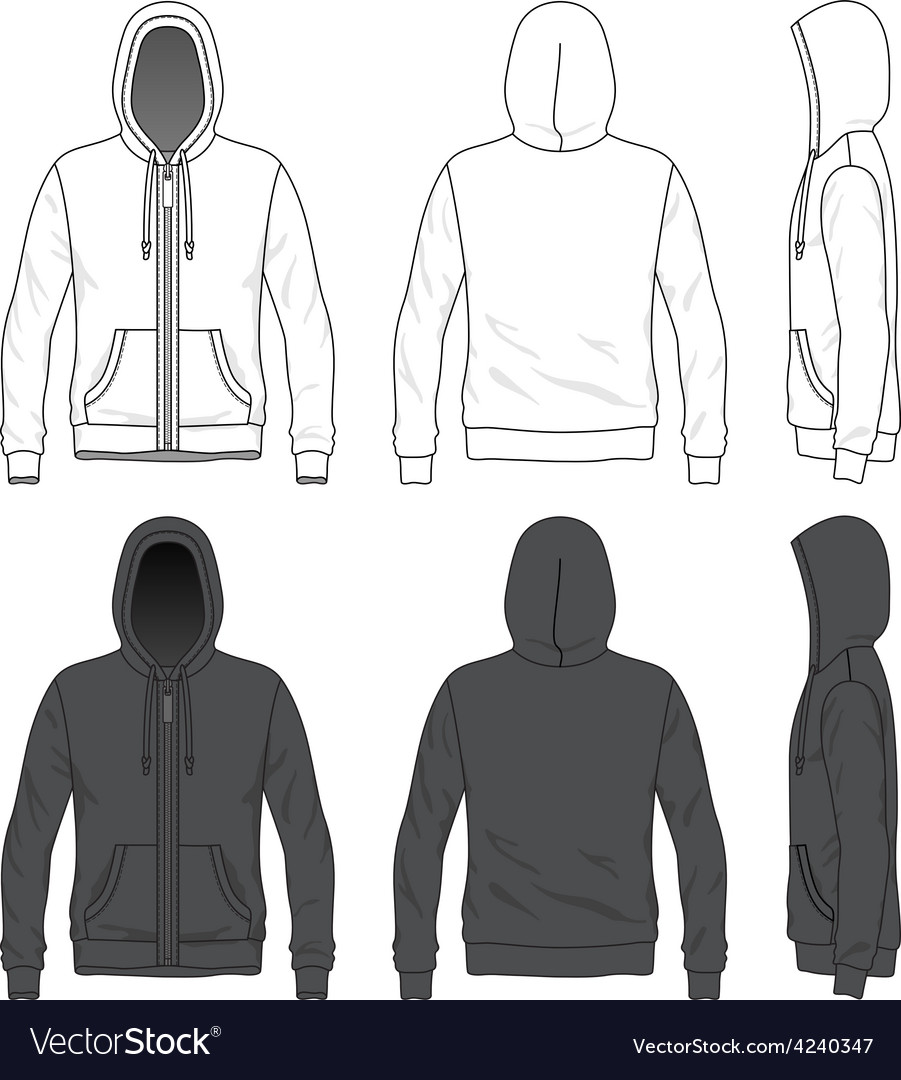 Front back and side views of blank hoodie with vector | Price: 1 Credit (USD $1)