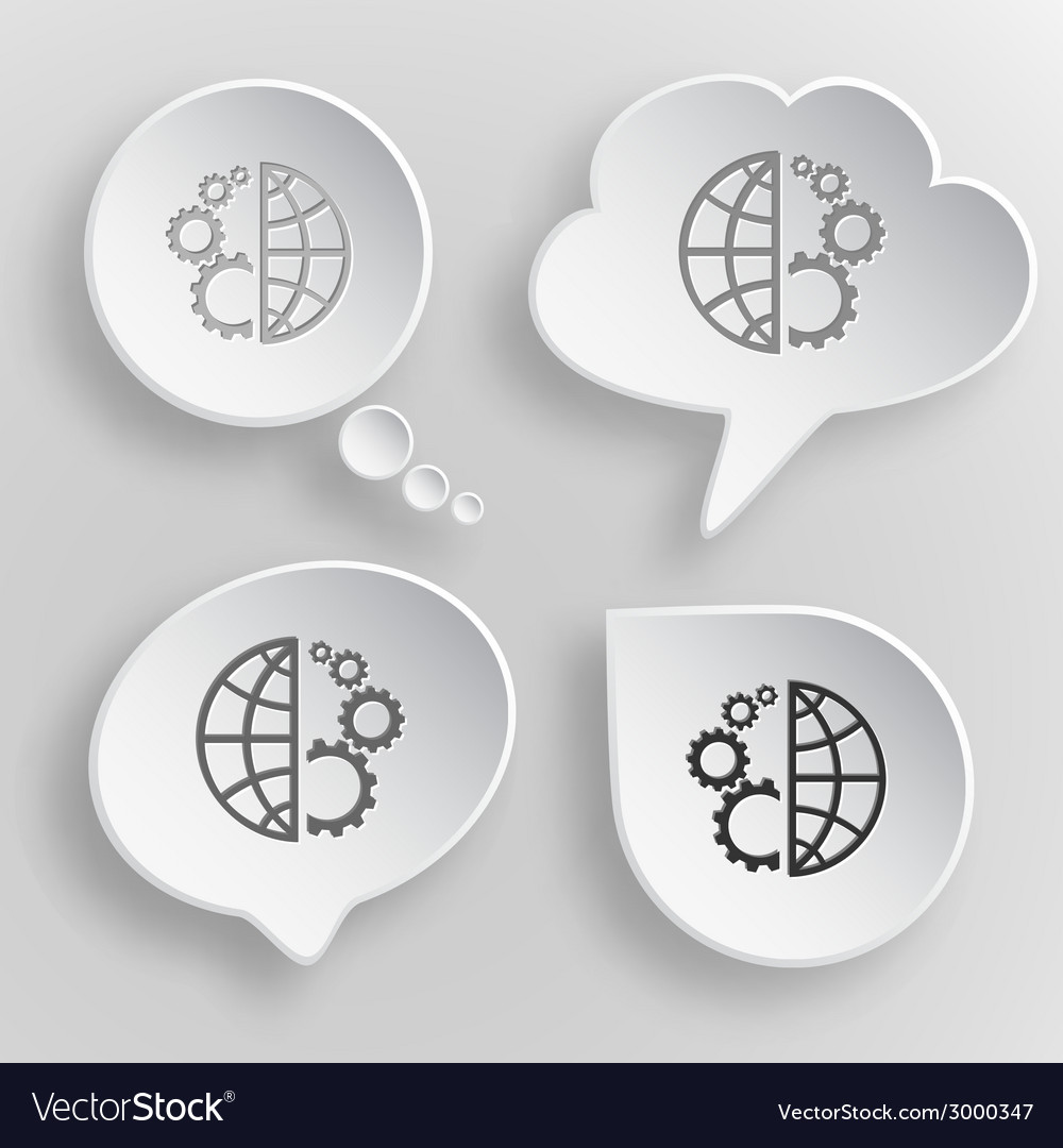 Globe and gear white flat buttons on gray vector | Price: 1 Credit (USD $1)
