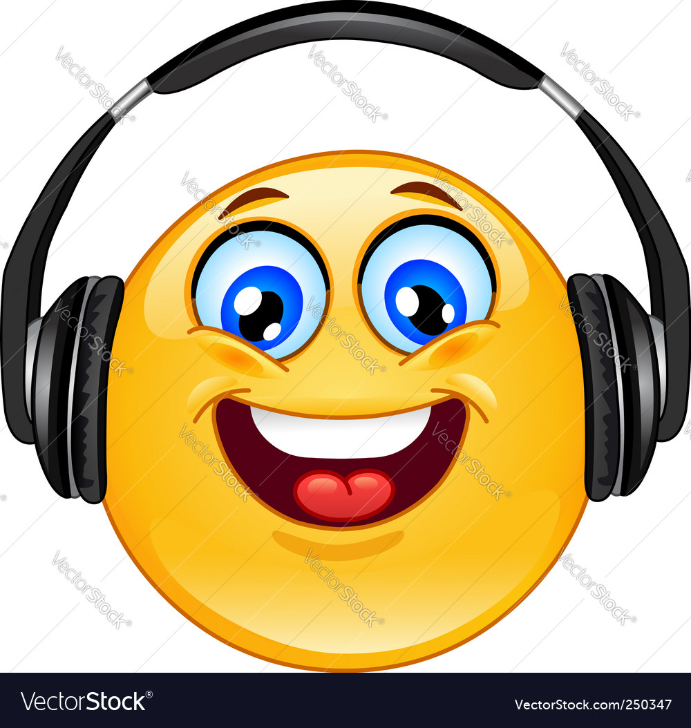 Headphones emoticon vector | Price: 1 Credit (USD $1)