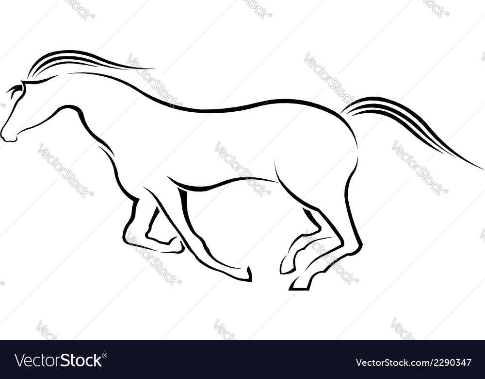 Horse running in style vector | Price: 1 Credit (USD $1)