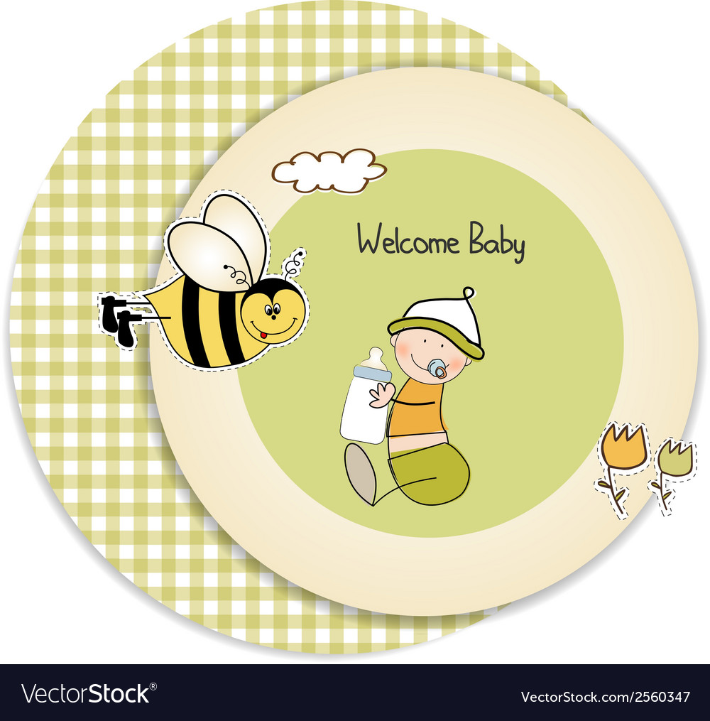 New baby announcement card with kid vector | Price: 1 Credit (USD $1)