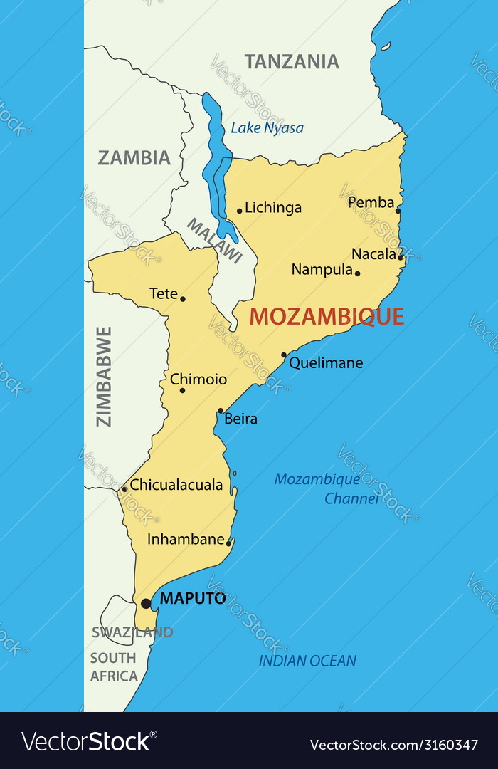 Republic of mozambique - map vector | Price: 1 Credit (USD $1)