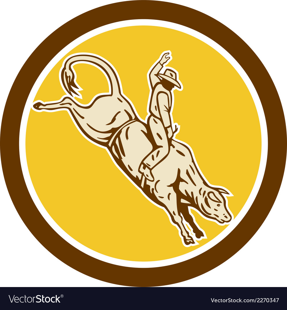 Rodeo cowboy bull riding retro circle vector | Price: 1 Credit (USD $1)