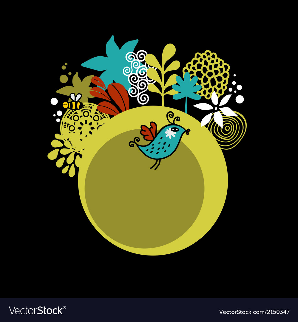 Round pattern with cute bird vector | Price: 1 Credit (USD $1)