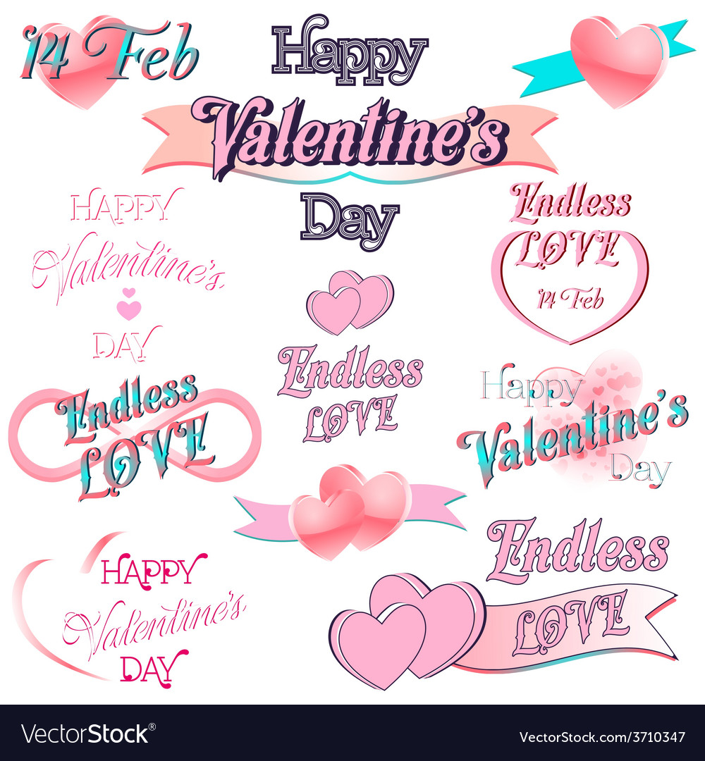 Set of valentines day decorative elements vector | Price: 1 Credit (USD $1)
