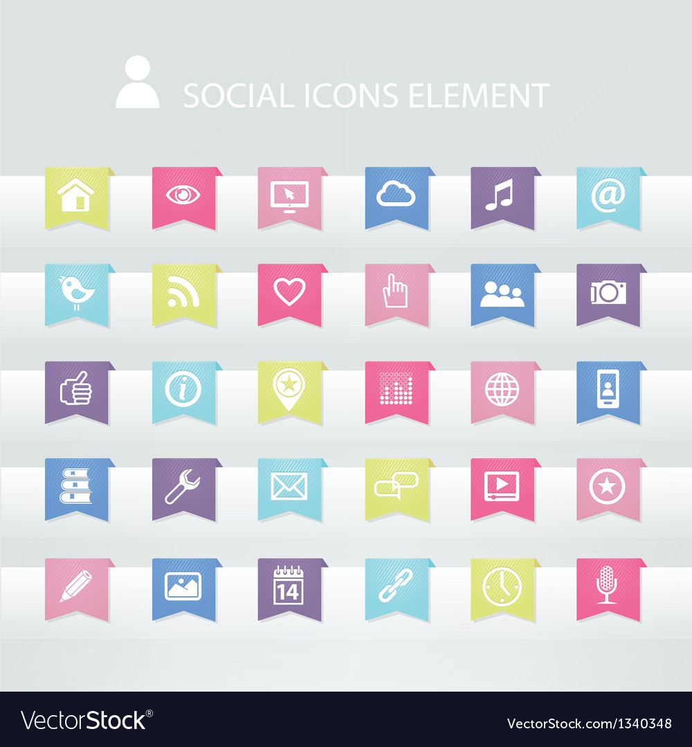 30 social icons element vector | Price: 1 Credit (USD $1)