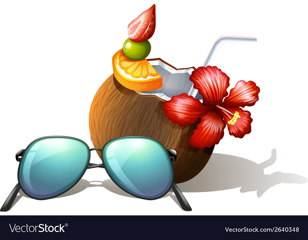 A refreshing drink and a sunglasses for a beach vector | Price: 1 Credit (USD $1)