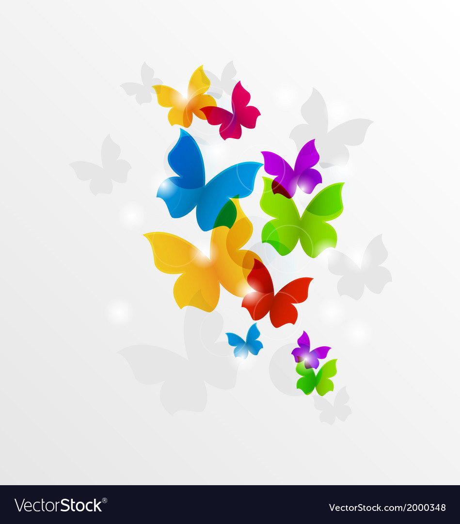 Abstract rainbow butterflies colorful background vector | Price: 1 Credit (USD $1)