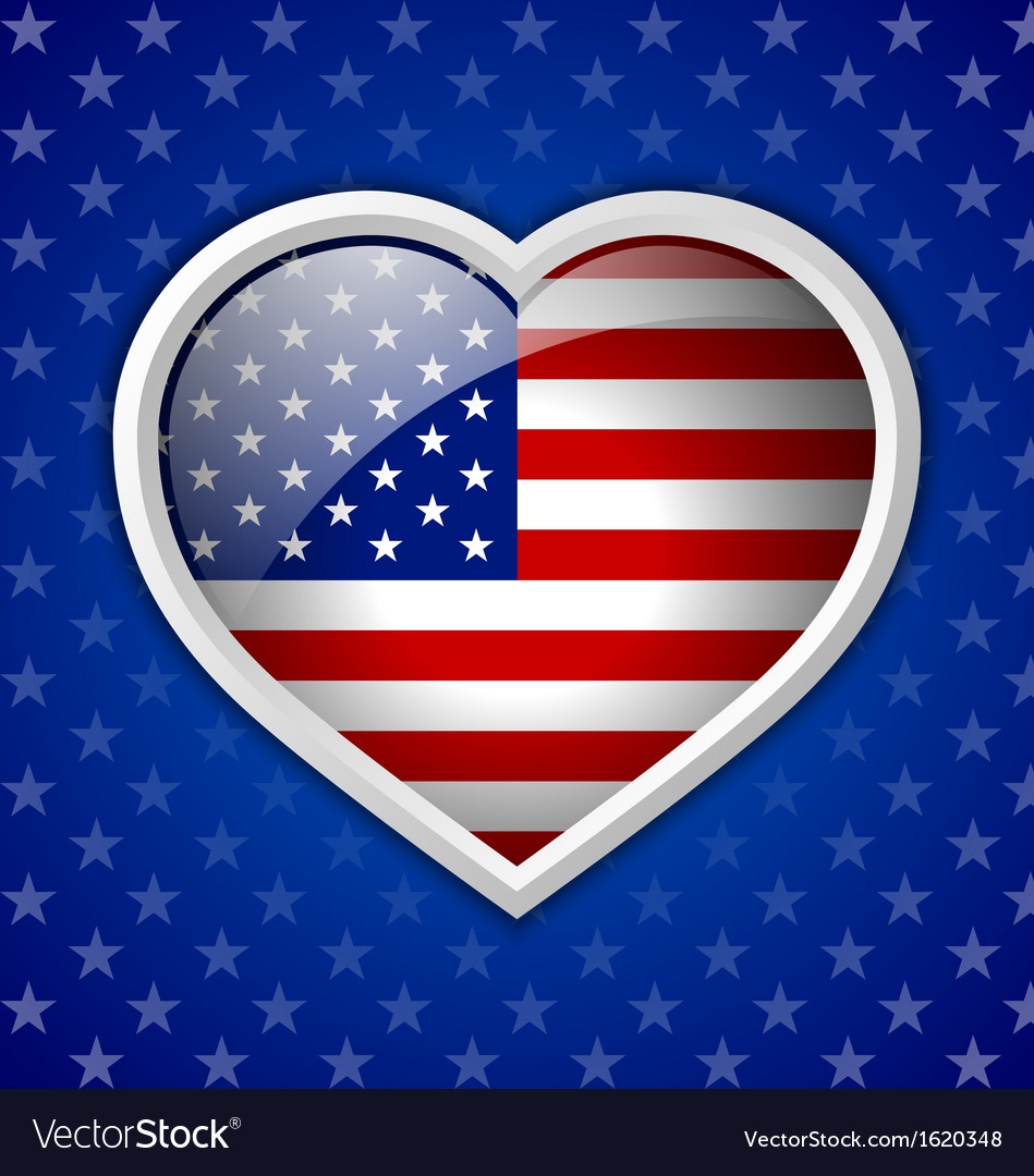 American heart badge vector | Price: 1 Credit (USD $1)
